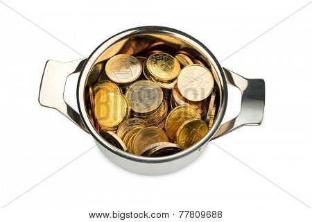a cooking pot  filled with euro coins, symbolic photo for sovereign debt and financial requirements