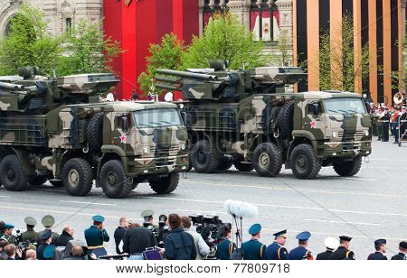 MOSCOW - 6 May 2010: Pantsir-S1  range surface-to-air missile. Dress rehearsal of Military Parade on 65th anniversary of Victory in Great Patriotic War on May 6, 2010 on Red Square in Moscow, Russia