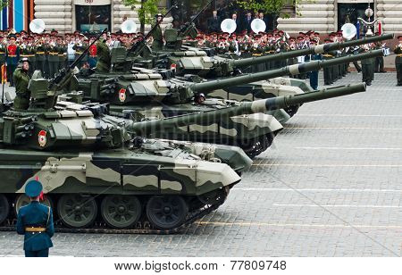 MOSCOW - 6 May 2010: Main battle tank T-90. Dress rehearsal of Military Parade on 65th anniversary of Victory in Great Patriotic War on May 6, 2010 on Red Square in Moscow, Russia
