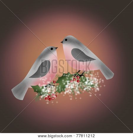 Bullfinch On Branch Of Holly Greetig Christmas Card