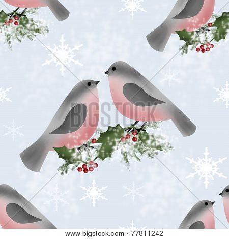 Bullfinches And Holly Branch Seamless Pattern Background