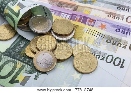 Euro (eur) Coins And Notes.