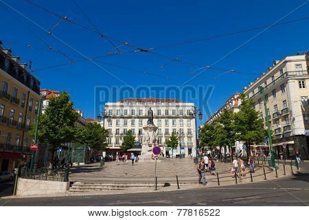 Plaza Luis De Camoes, Chiado District In Lisbon, Portugal