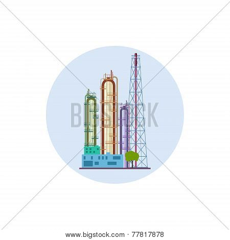 Icon Of A Chemical Plant Or Refinery Processing , Vector Illustration