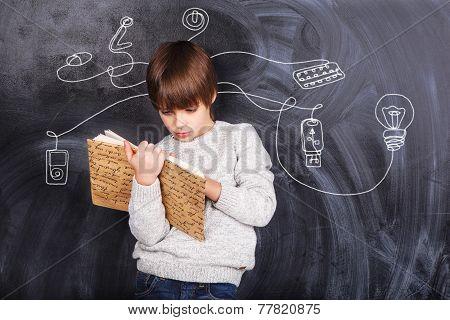 Boy Solving Puzzles