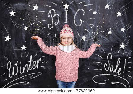Girl Advertises Big Winter Sale