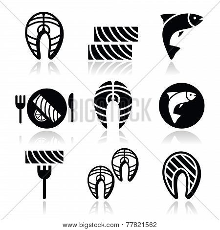 Salmon fish and meal - food icons set