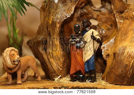 Nativity Scene With Holy Family With Lion