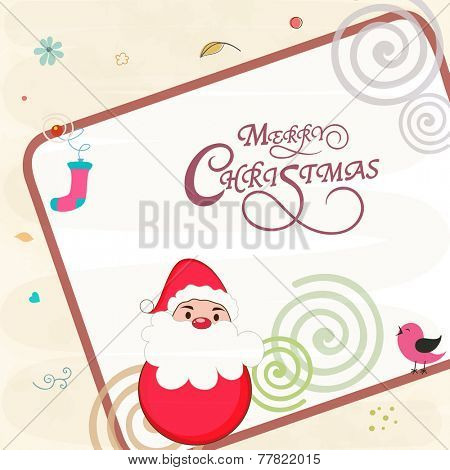 Creative greeting card design decorated with cute Santa Claus, little bird, spirals and socks on stylish background for Merry Christmas celebrations.