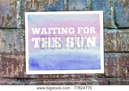 Typographical Watercolor Poster on a Brick Wall