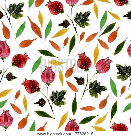 Hand drawn style watercolor flower bur with leaf nature seamless pattern