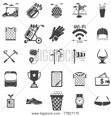 Vector collection of black icons for golf