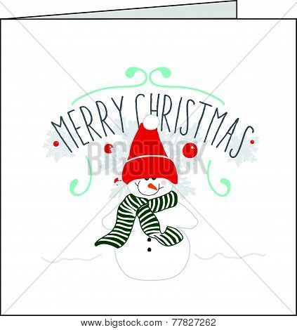Snowman christmas card with