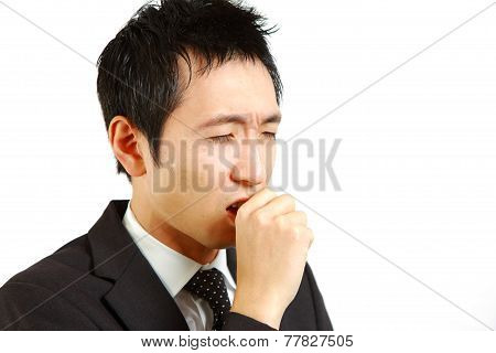 businessman suffer from a bad cough