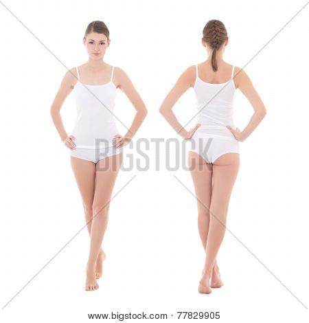 Front And Rear View Of Young Slim Woman In Cotton Underwear Isolated On White - Full Length