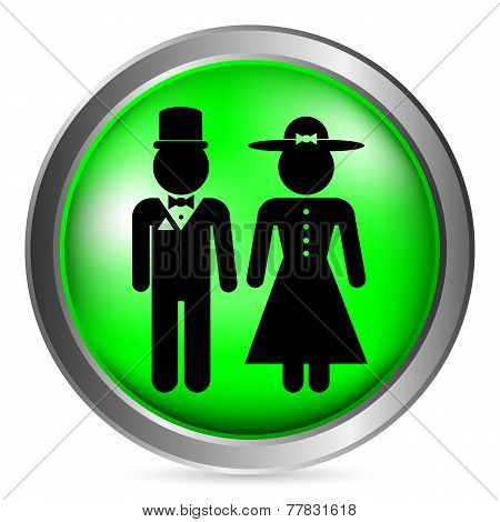 Male And Female Restroom Symbol Button