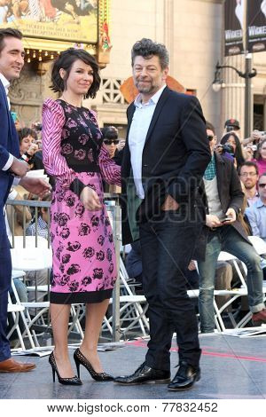 LOS ANGELES - DEC 8:  Evangeline Lilly, Andy Serkis at the Peter Jackson Hollywood Walk of Fame Ceremony at the Dolby Theater on December 8, 2014 in Los Angeles, CA