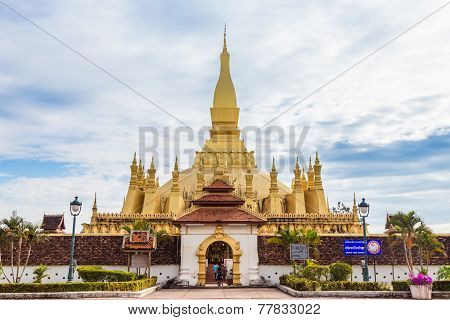 Golden Pagoda Wat Phra That Luang In Vientiane, Laos.