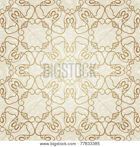 Vector seamless gold pattern in Victorian style.