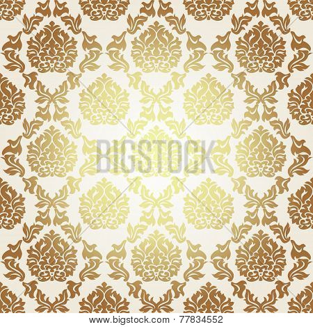 Vector seamless gold pattern in Victorian style
