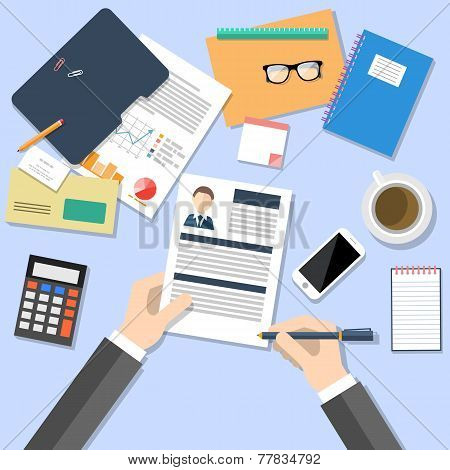 HR manager working with CV concept