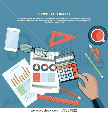Corporate finance, business management concept