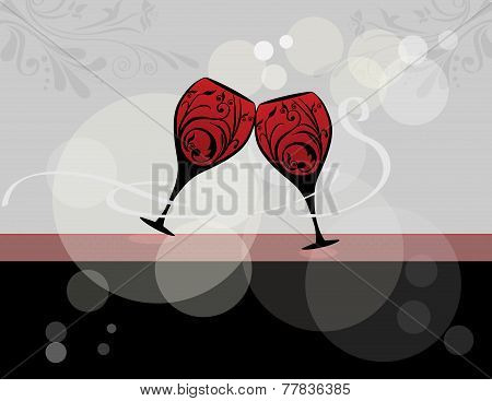 Wine glasses stylized