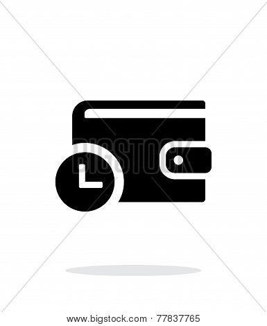 Wallet with timer icon on white background.