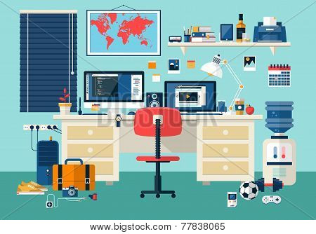 Flat Design Vector Illustration Of Modern Office Interior