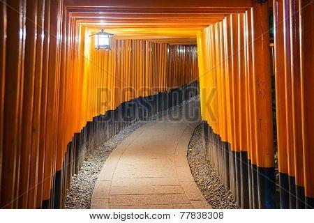 Kyoto, Japan at the Fushimi Inari Shrine gates.