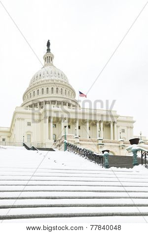 Washington DC - The Capitol Buildin in snow