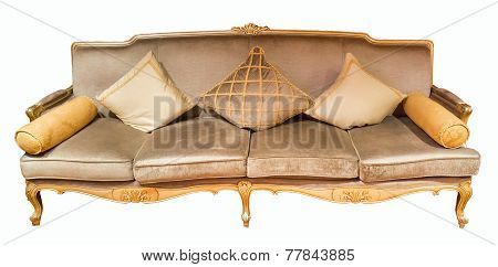 Beige Luxurious Four-seat Sofa With Pillows, Isolated On White Background, Front View