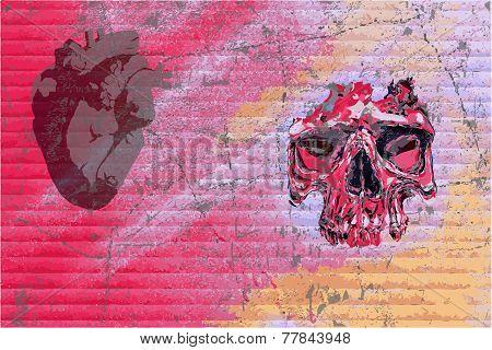 Graffiti Skull And Heart