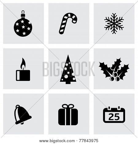 Vector black cristmas icon set