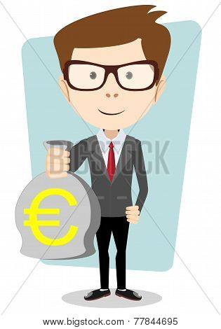 Businessman or banker with a Bag of Gold Cash Euro. Vector Illustration