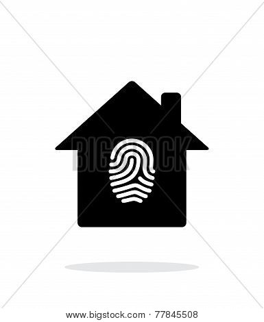 Fingerprint home secure icon on white background.