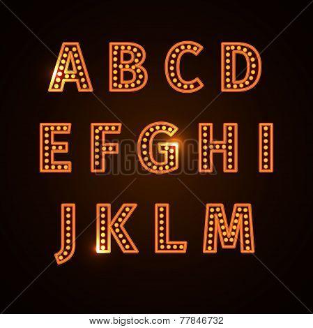retro glowing font