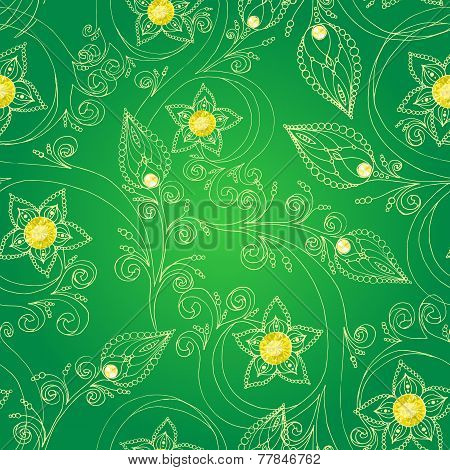 Seamless pattern with flowers, doodles, and rubies