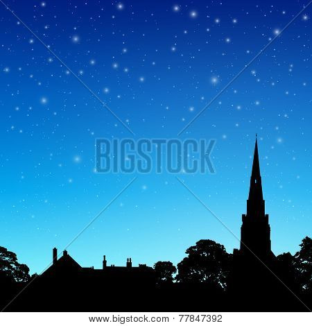 Church Spire in Silhouette with Night Sky and Stars. - Vector EPS 10