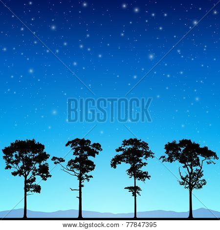 Line of Trees in Silhouette with Night Sky and Stars. - Vector EPS 10
