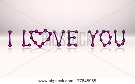 I LOVE YOU, doodle text with reflection, vector eps10 illustration