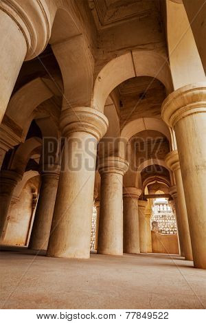 Columns in Thanjavur palace. Thanjavur, Tamil Nadu, India