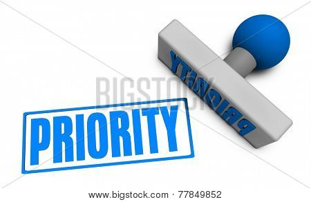 Priority Stamp or Chop on Paper Concept in 3d
