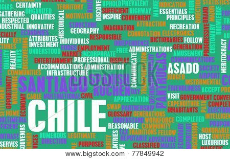 Chile as a Country Abstract Art Concept