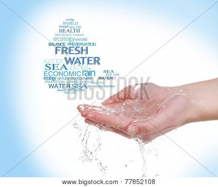 Concept of world's fresh water reserve, words in drop shape in hand on blue background
