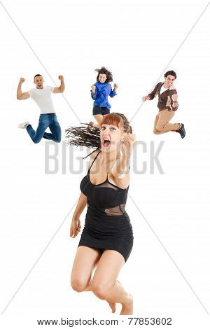 Glamour Woman In Dark Dress Or Girl Jumping  With Fist Up Of Joy Excited