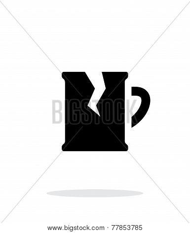 Broken beer mug simple icon on white background.