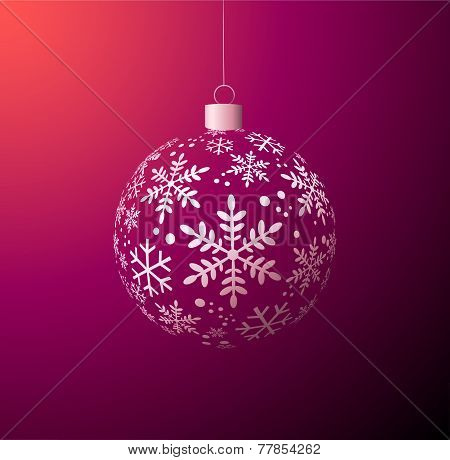 Christmas Ball On Purple Background.eps