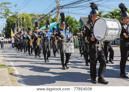 Unidentified Marching Band In Parade Anti-corruption Day.