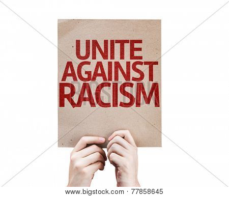 Unite Against Racism card isolated on white background